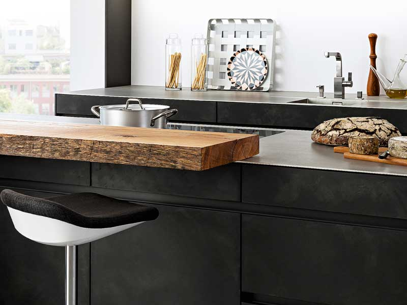 neue materialien erobern die k che. Black Bedroom Furniture Sets. Home Design Ideas