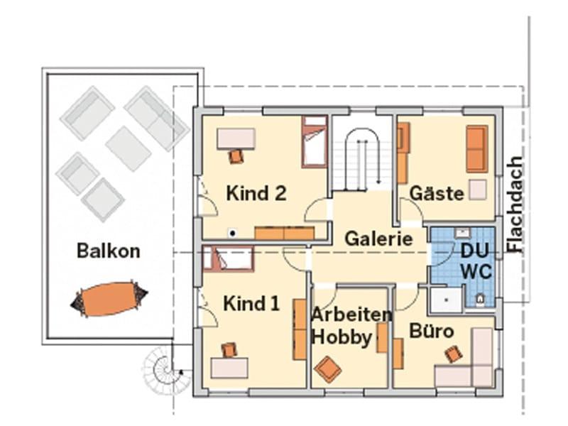Grundriss Obergeschoss Entwurf Novum von Fingerhut Haus