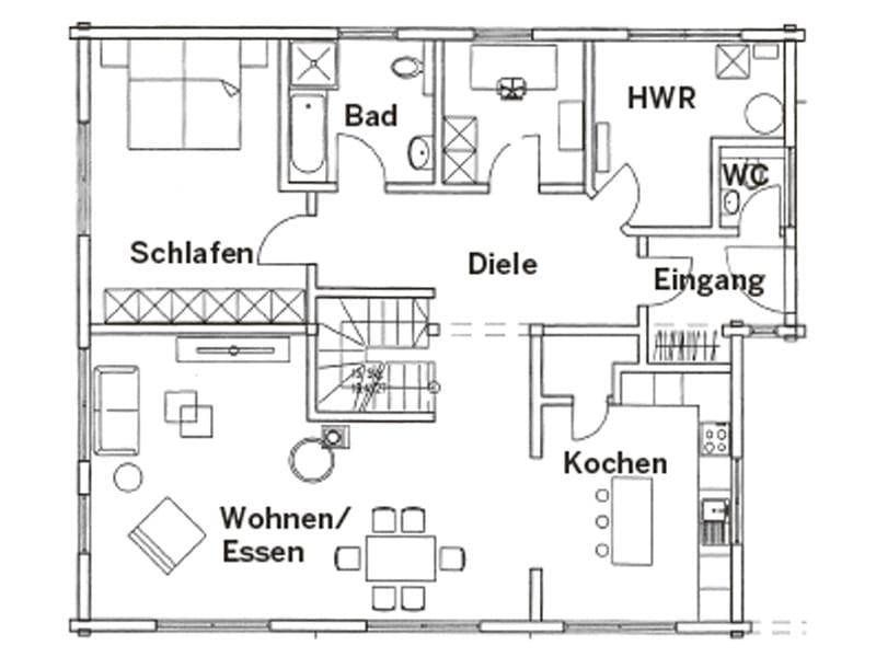 Grundriss Erdgeschoss Entwurf Lüneburg von Fullwood Wohnblockhaus