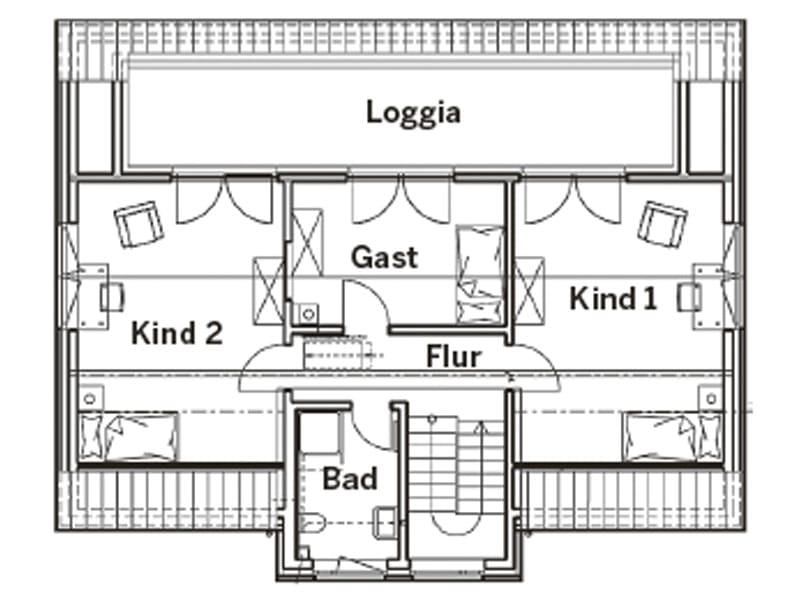 Grundriss Dachgeschoss Entwurf Hellerberge von Gussek Haus