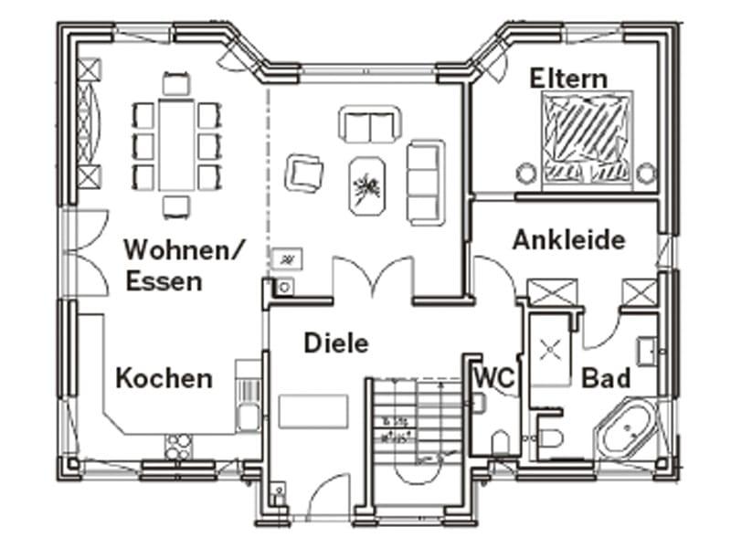 Grundriss Erdgeschoss Entwurf Hellerberge von Gussek Haus