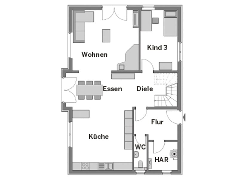 Grundriss Erdgeschoss Entwurf Familienhaus von Heinz von Heiden