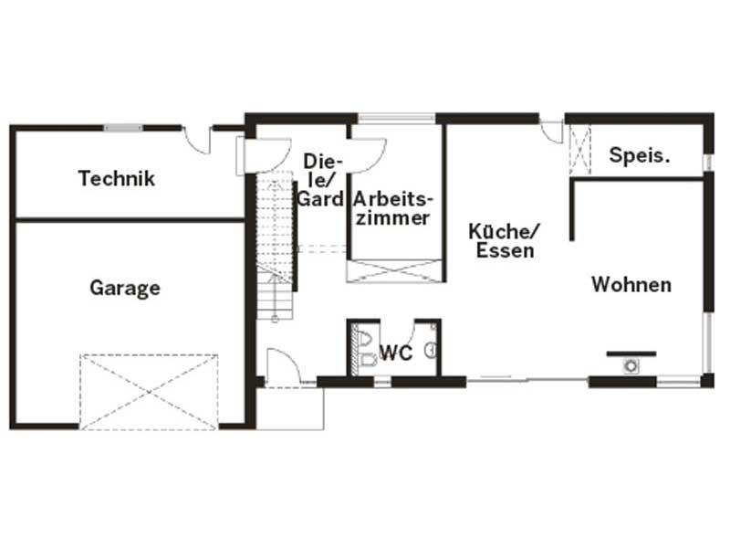 Grundriss Erdgeschoss Entwurf Homestory 322 von Lehner Haus