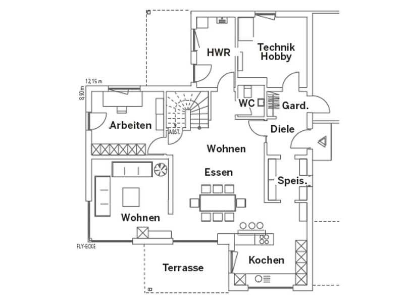 Grundriss Erdgeschoss Entwurf Schwabach von Regnauer Hausbau