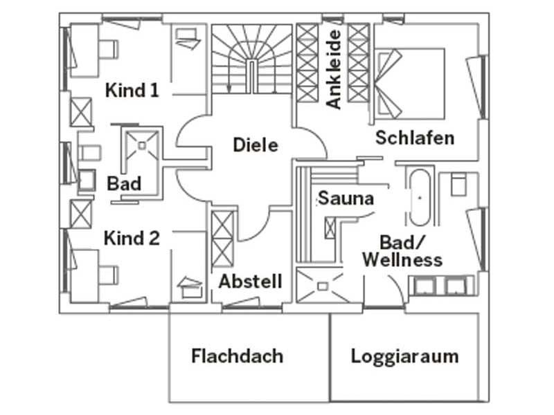 Grundriss Obergeschoss Entwurf Schwabach von Regnauer Hausbau