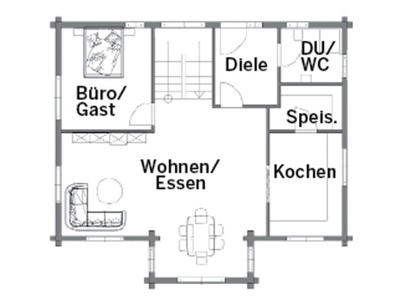 Grundriss Erdgeschoss Entwurf Rosengarten von Rems-Murr