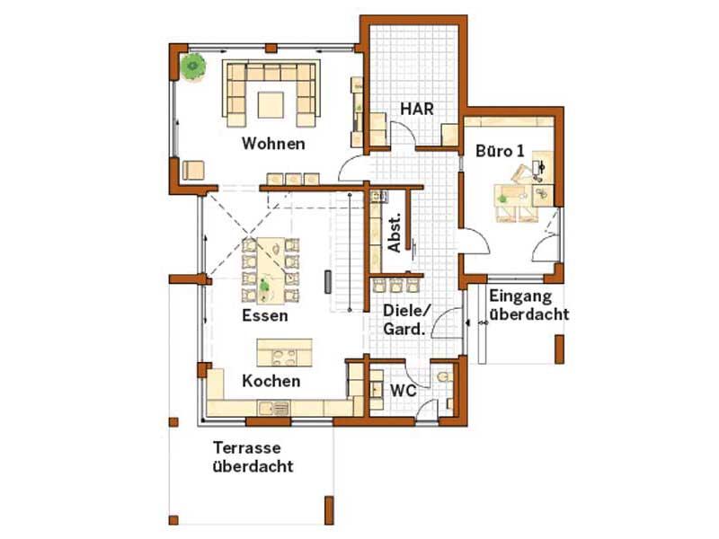 Grundriss Erdgeschoss Musterhaus San Diego von RENSCH-HAUS