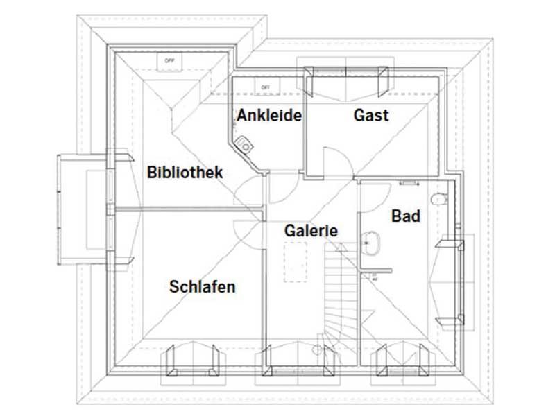 Grundriss Dachgeschoss Entwurf Föhr von Bau-GmbH Roth
