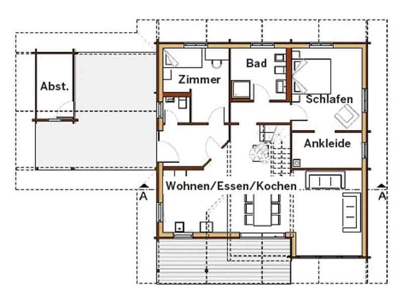 Grundriss Erdgeschoss Entwurf Marie von Rubner Haus