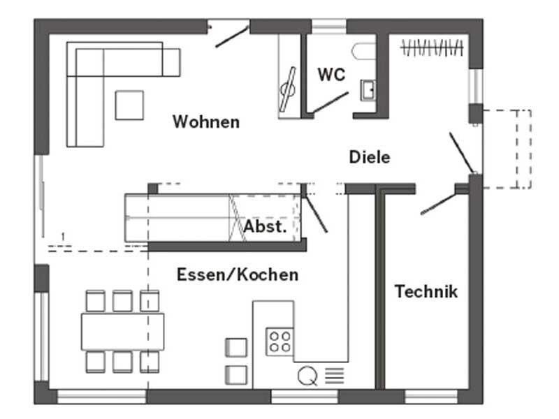 Grundriss Erdgeschoss Kundenhaus Triebner von SchwörerHaus
