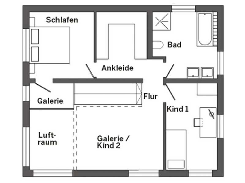 Grundriss Obergeschoss Kundenhaus Triebner von SchwörerHaus