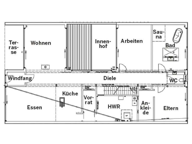Grundriss Erdgeschoss Haus Wildfarn von Stommel Haus