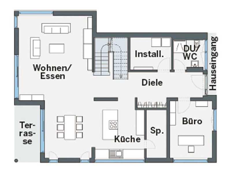 Grundriss Erdgeschoss individueller Entwurf Blum von WeberHaus