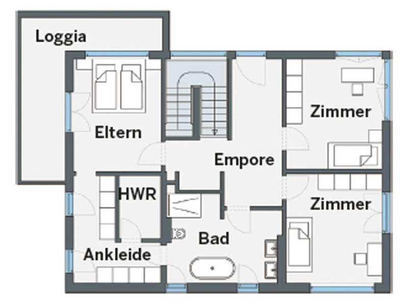 Grundriss Obergeschoss individueller Entwurf Blum von WeberHaus