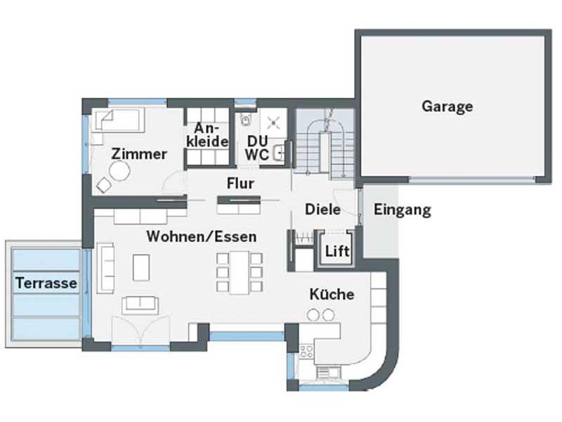 Grundriss Erdgeschoss CityLife450 von WeberHaus