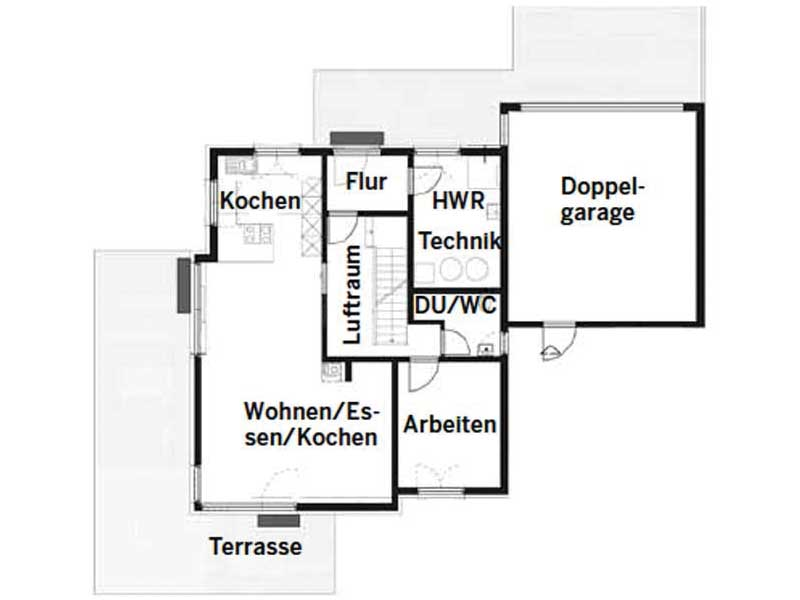 Grundriss Erdgeschoss Entwurf Grauer von Fertighaus WEISS