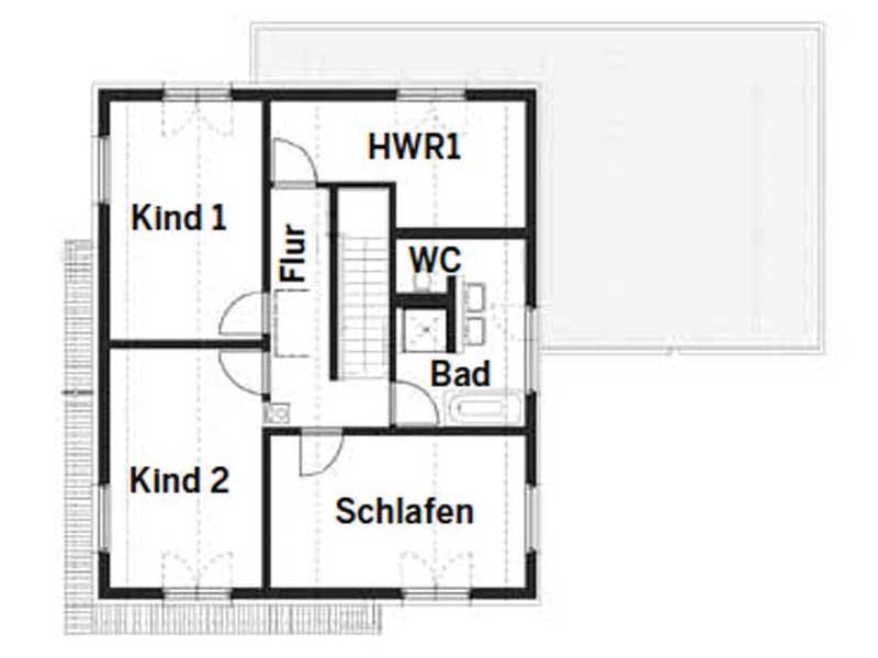Grundriss Obergeschoss Entwurf Grauer von Fertighaus WEISS