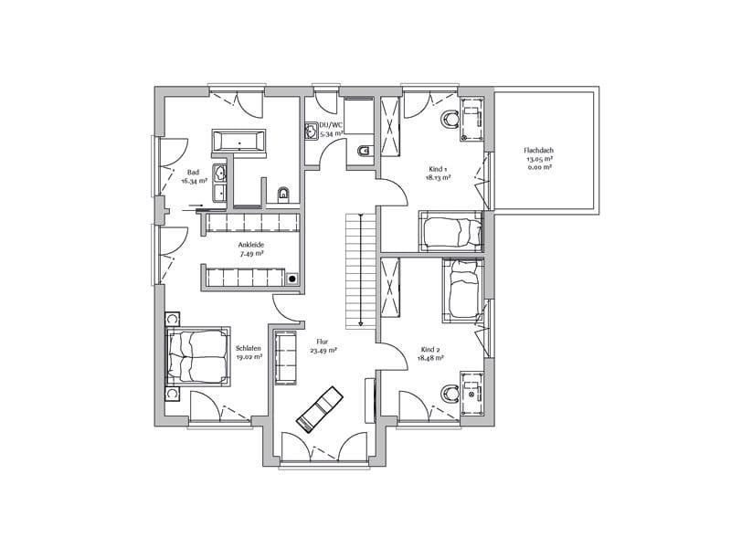 Grundriss Obergeschoss Stadtvilla247 Fischerhaus
