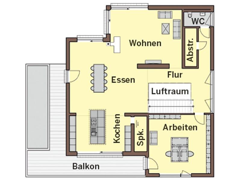 Grundriss Erdgeschoss Haus Lehmann von Büdenbender Hausbau