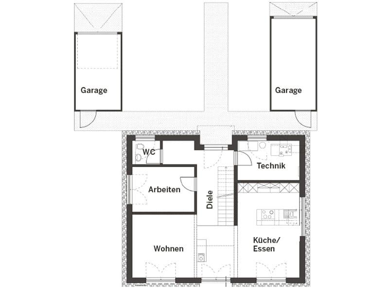 Grundriss Erdgeschoss Haus Hornberg von Fertighaus Weiss