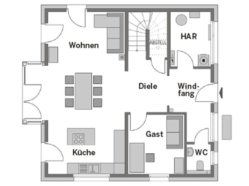 Grundriss Erdgeschoss Stadtvilla SV 150 von Heinz von Heiden