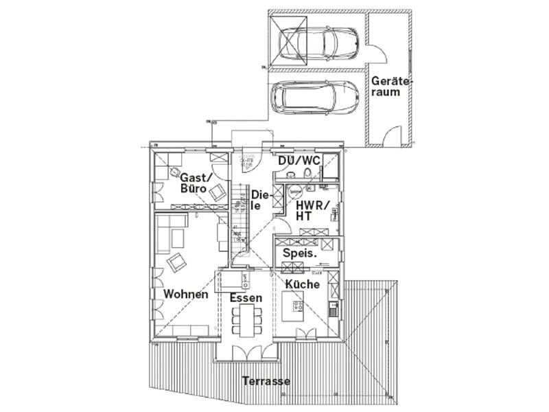Grundriss Erdgeschoss Entwurf Stefani von Sonnleitner
