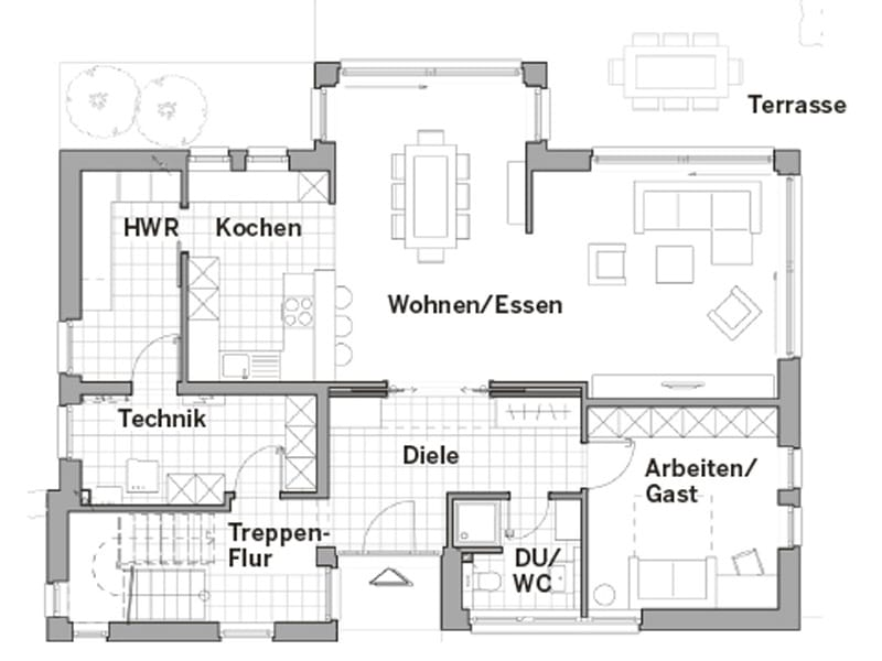 Grundriss Erdgeschoss Edition Style City 2000 von Viebrockhaus