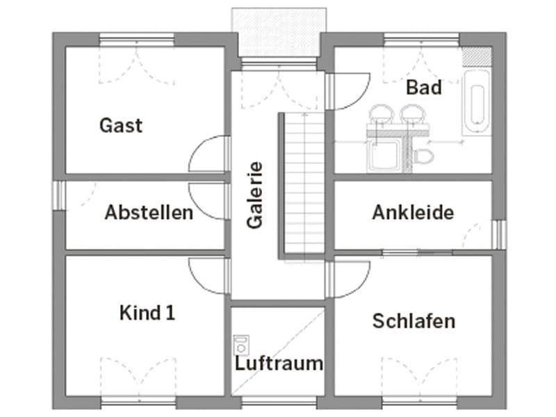Grundriss Obergeschoss Haus Hornberg von Fertighaus Weiss