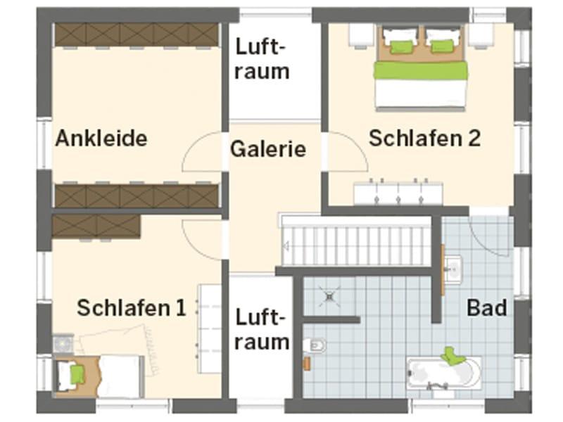 Grundriss Obergeschoss frei geplantes Kundenhaus NEO von FingerHaus