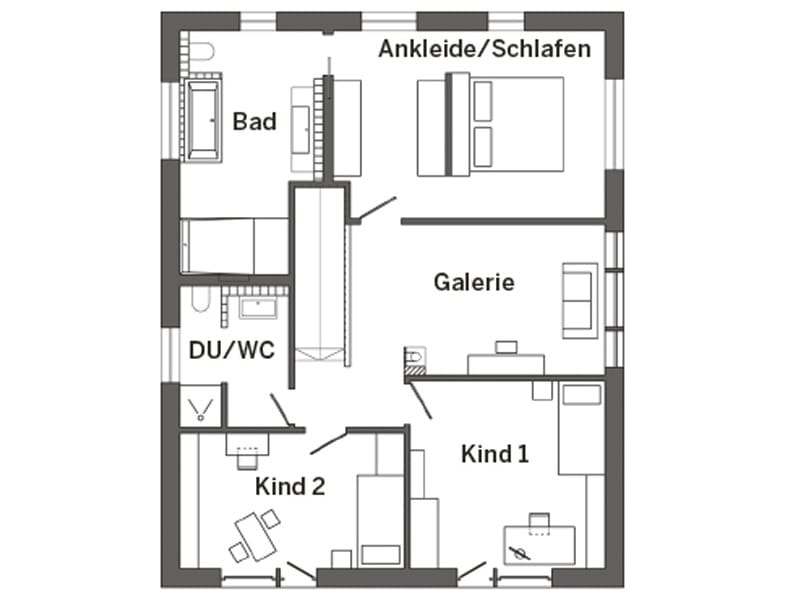 Grundriss Obergeschoss Kundenhaus Hesse von SchwörerHaus