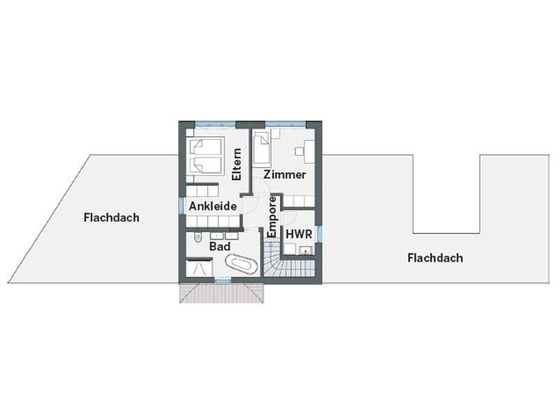 Grundriss Obergeschoss individuelles Kundenhaus Cartier von WeberHaus