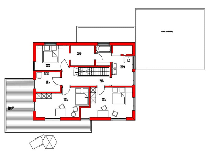 Dachgeschoss Entwurf Dornhan von Kitzlingerhaus