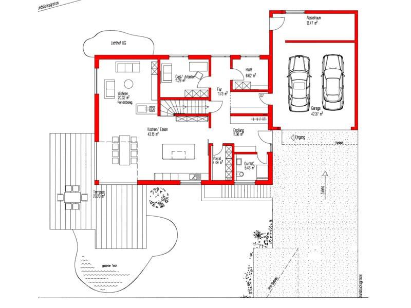 Grundriss Erdgeschoss Kundenhaus Empfingen von Kitzlingerhaus