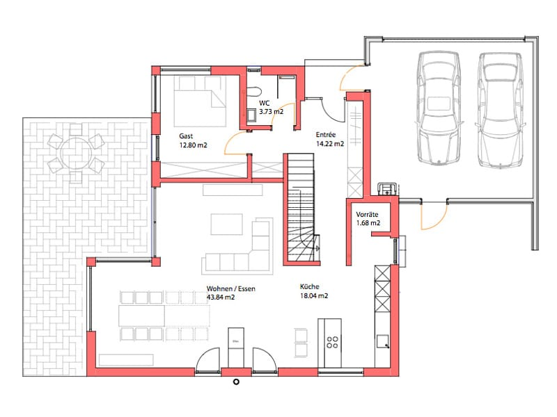 Erdgeschoss Individuelles Architektenhaus von Kitzlingerhaus