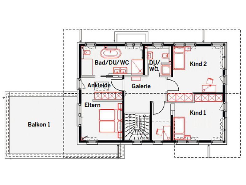 Grundriss Obergeschoss Musterhaus Estenfeld von OKAL