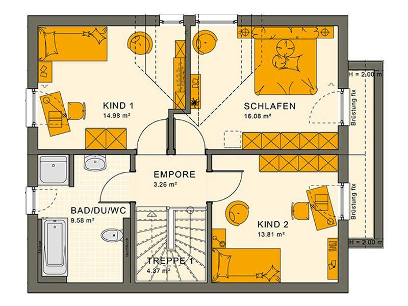 Grundriss Dachgeschoss Entwurf Sunshine 125 V 3 von Living Haus