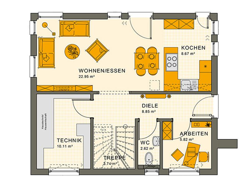 Grundriss Erdgeschoss Entwurf Sunshine 125 V 3 von Living Haus