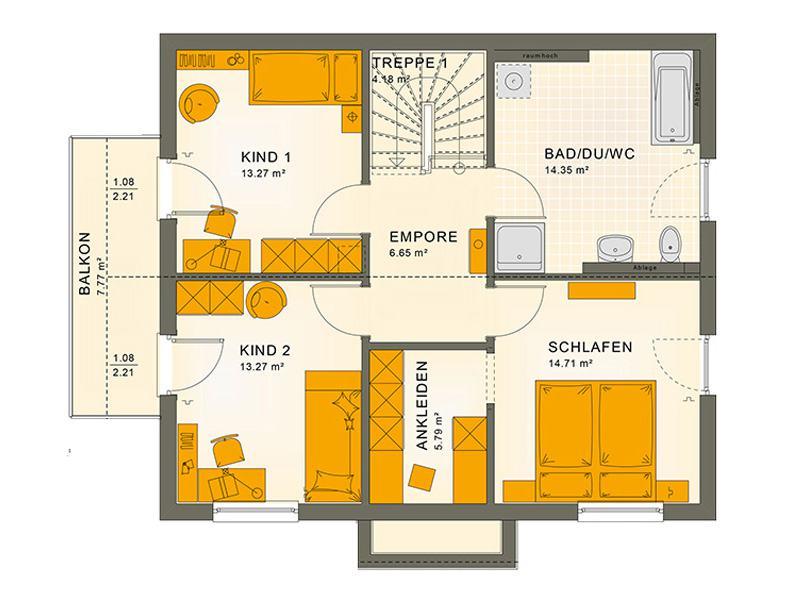 Grundriss Dachgeschoss Entwurf Sunshine 143 V 4 von Living Haus