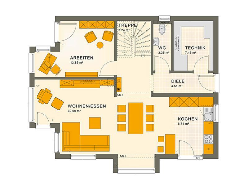 Grundriss Erdgeschoss Entwurf Sunshine 143 V 4 von Living Haus
