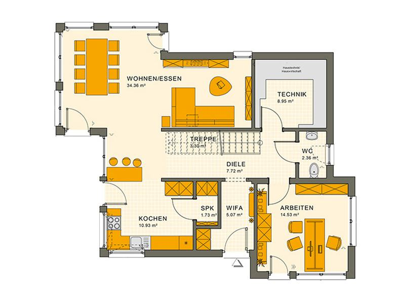Grundriss Erdgeschoss Entwurf Sunshine 144 V 6 von Living Haus