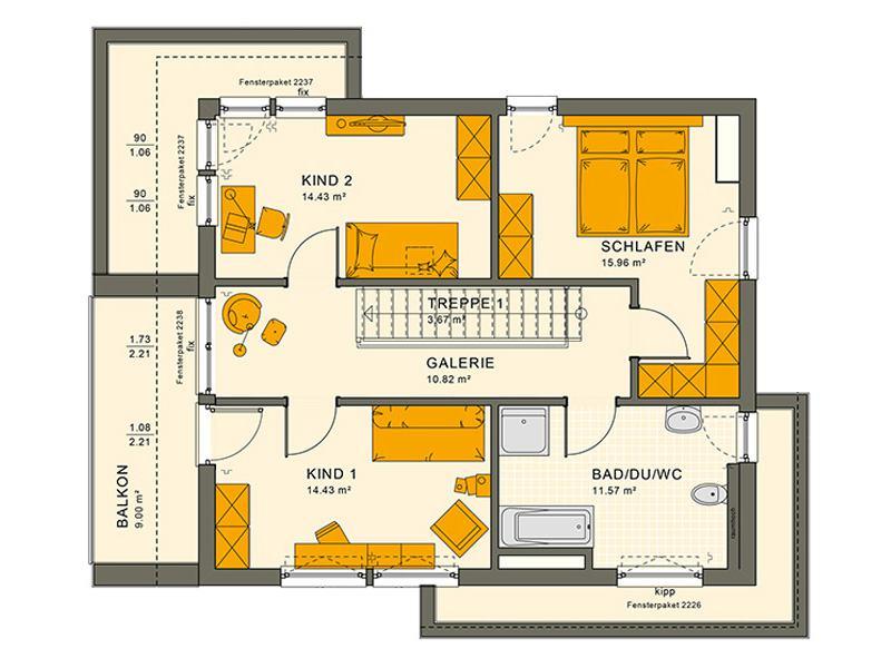 Grundriss Obergeschoss Entwurf Sunshine 144 V 4 von Living Haus