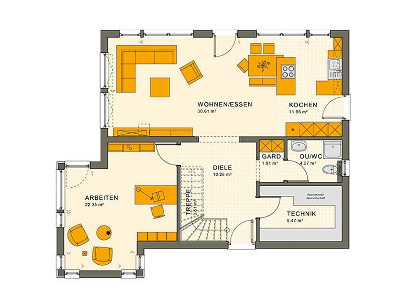 Grundriss Erdgeschoss Entwurf Sunshine 165 V 7 von Living Haus