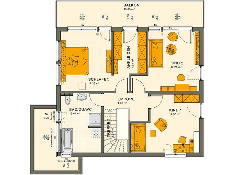 Grundriss Obergeschoss Entwurf Sunshine 165 V 7 von Living Haus
