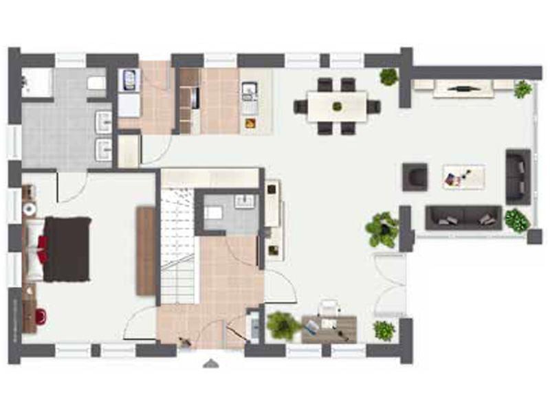 Grundriss Erdgeschoss Entwurf Ijsselmeer von Gussek Haus