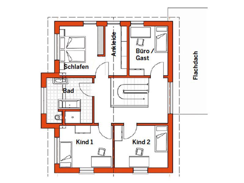 Grundriss Obergeschoss Musterhaus Günzburg von Fingerhut Haus