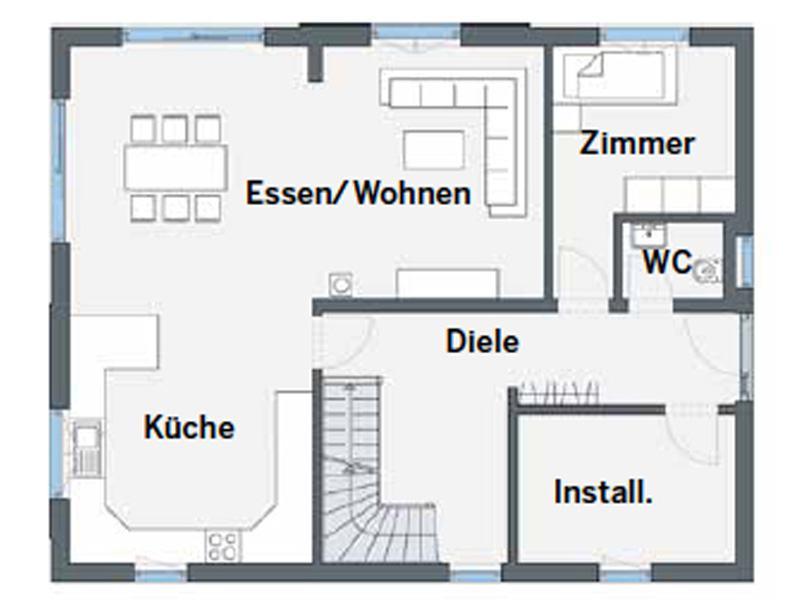 Grundriss Erdgeschoss Entwurf Bueeler von Weber Haus