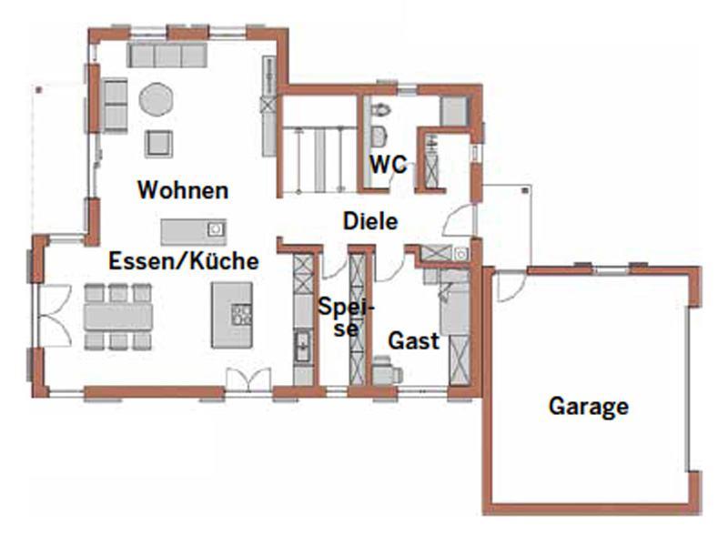 Grundriss Erdgeschoss Entwurf Bad Wiessee von Wolf System
