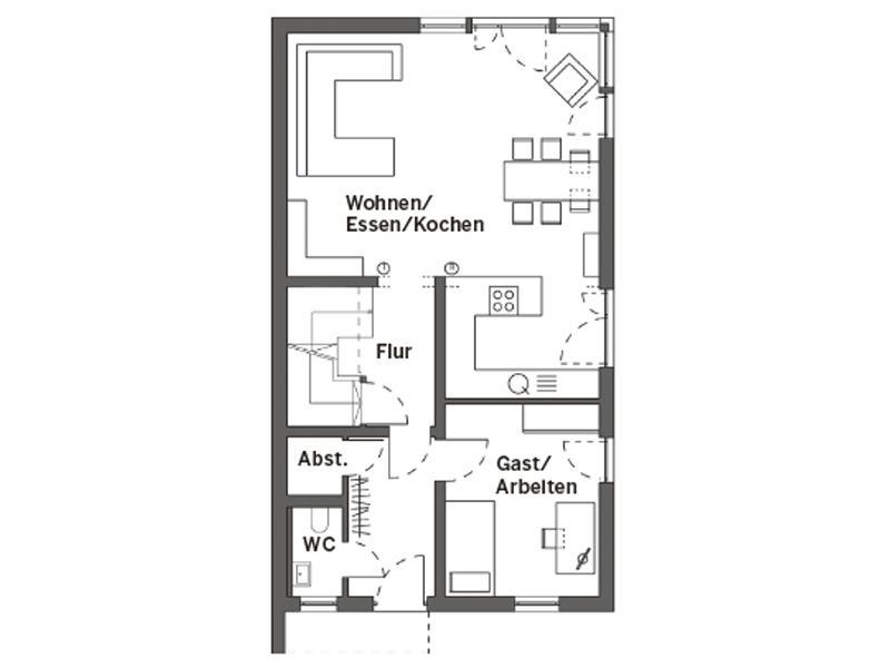 Grundriss Erdgeschoss Entwurf Kinzelmann von SchwörerHaus