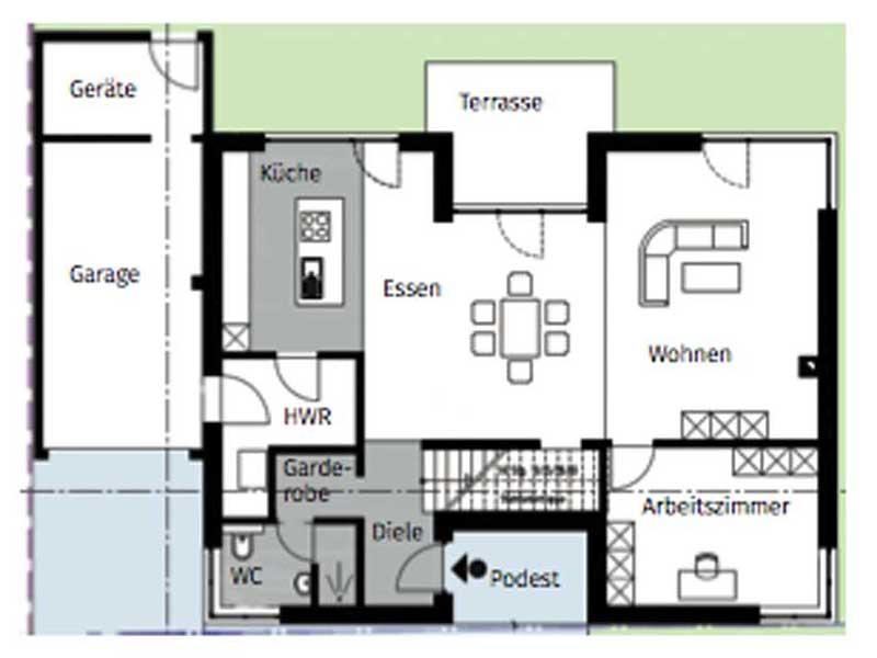 Grundriss Erdgeschoss Cubiculum freie Planung von Arge-Haus