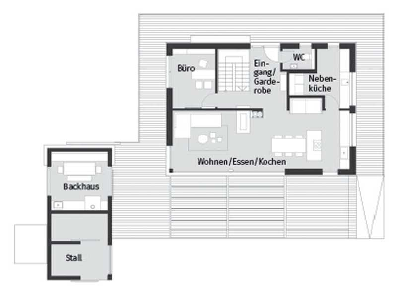 Grundriss Erdgeschoss Entwurf Heimat 4.0 von Baufritz